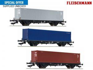 FLEISCHMANN-3x-container-wagons-db-iv